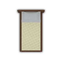 single bed top view. Creme Quilted Single Bed Top View